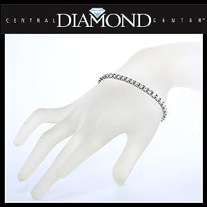 Simulated Diamond Tennis Bracelet, Zirconia, Sterling Silver 5.0ct, 7.50ct, 10ct, 17.50ct, 22ct