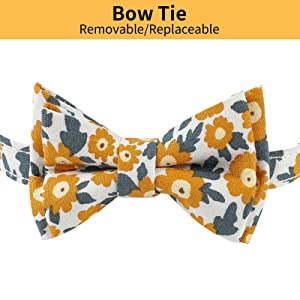 Yellow Cat Collar Floral Cute Bow Tie Daisy Flower Patterns Breakaway Adjustable Safety Collars