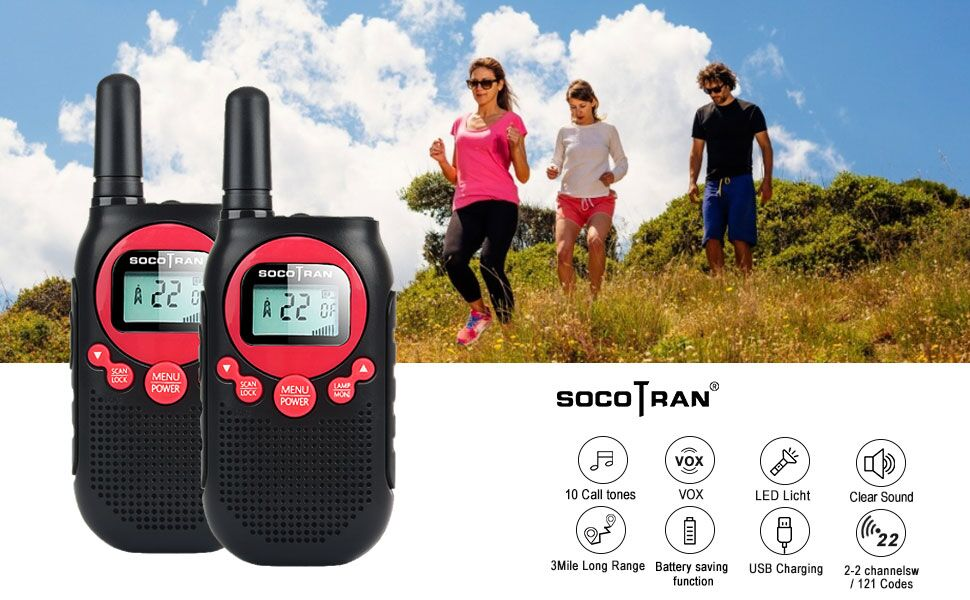 rechargeable two way radio frs walkie talkies adults kids family camping long range 5 miles vox
