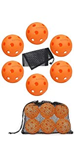 Indoor Pickleball Balls 6 Pack with Mesh Ball Bag