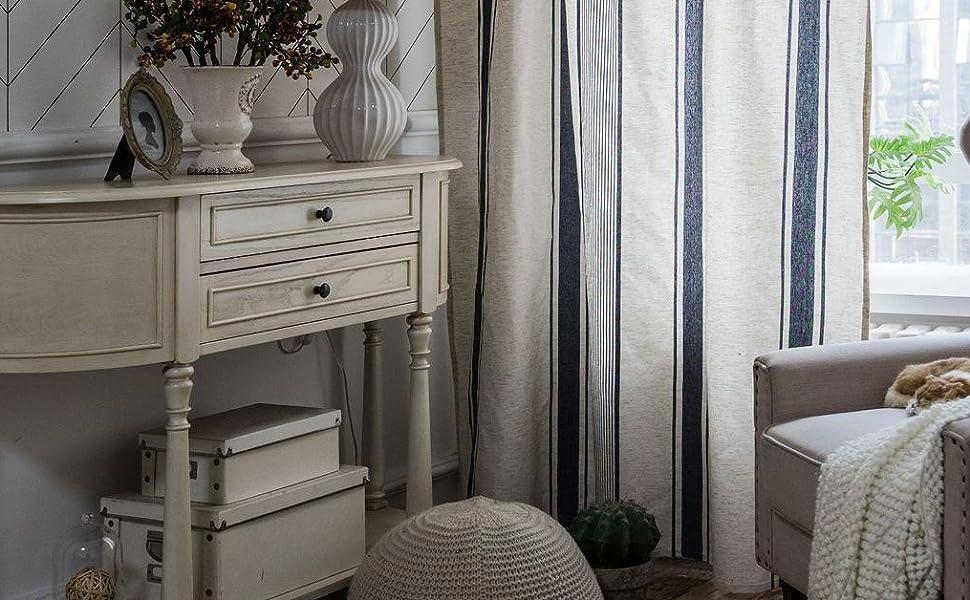 Blue Stripe Window Curtain Panle