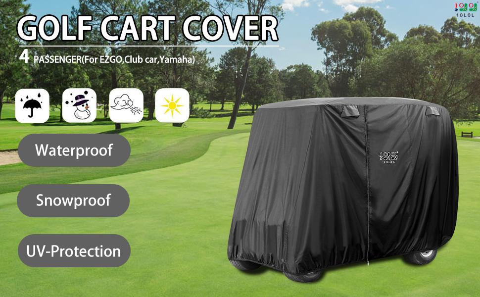 10L0L 4 Passenger Golf Cart Cover Fits EZGO, Club Car and Yamaha --Black