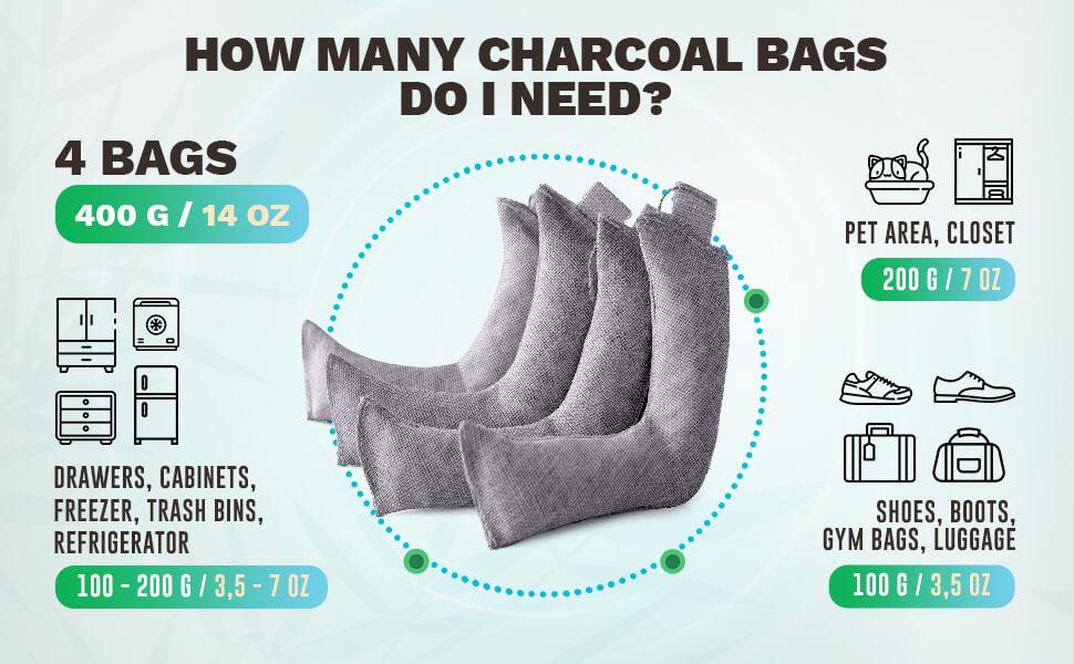 HOW MANY CHARCOAL BAGS DO I NEED?