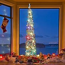Joy-Leo 5ft Pop Up Christmas Tree - Silver Multicolored