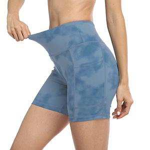 UURUN Fashion Printed Nylon Fabric yoga  running shorts with pockets , tummy control biker shorts