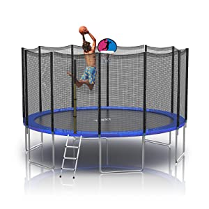 trampoline with basketball