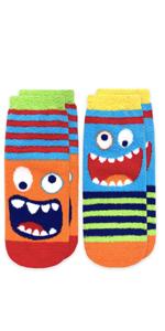 Jefferies Socks Boys Monster Fuzzy Non-Skid Slipper Socks 2 Pack