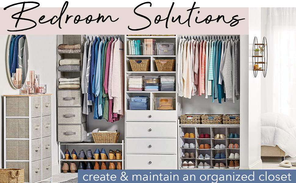 Bedroom Solutions Header, fabric dressers, totes, bins, baskets, clothing in a white closet setting