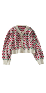 Women Floral Cropped Cardigan Sweater