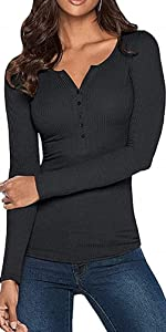 Damen V-Ausschnitt Henley T-Shirts