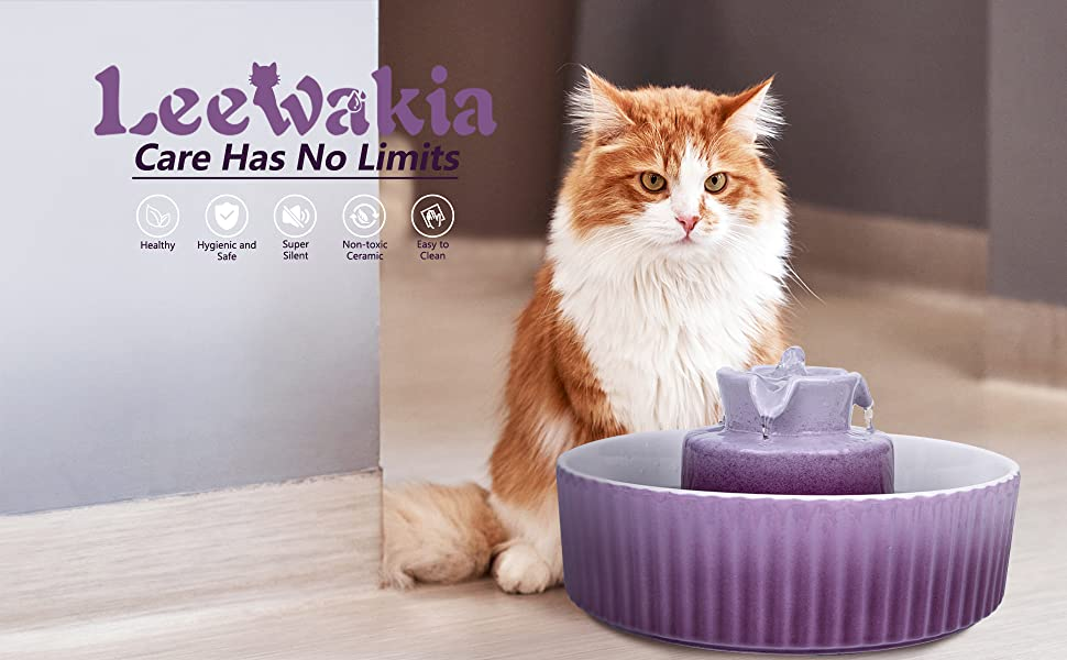 Leewakia Ceramic Cat Water Fountain, 71 oz Automatic Pet Drinking Fountain for Cats and Dogs