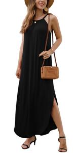 GRECERELLE Women's Summer Casual Halter Sleeveless Long Dress Side Split Maxi Dresses