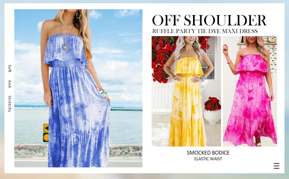 strapless maxi dress for women summer