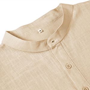 Babioboa Men's Linen Henley Shirt Deep Long Sleeve Hippie Casual Beach