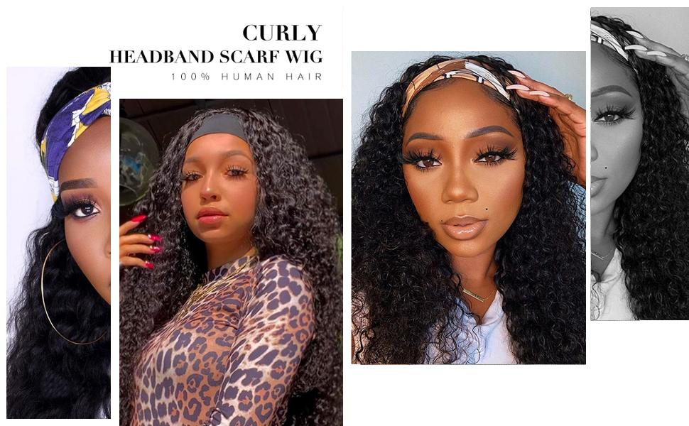 Kinky Curly Wave Human Hair Full Machine Made Headband None Lace Front Wig