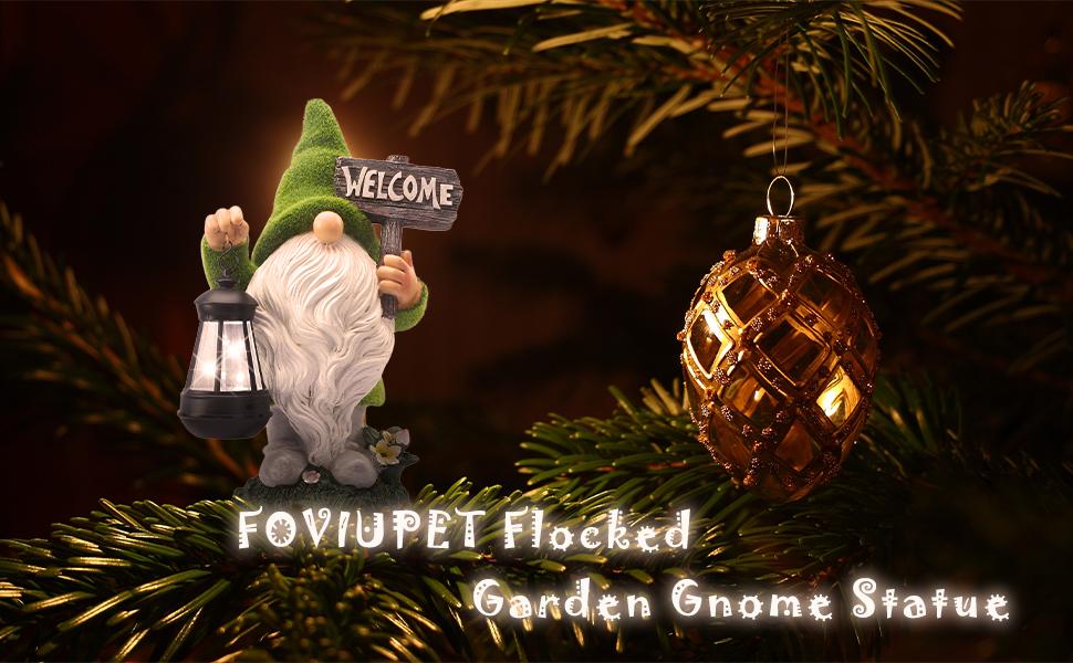 Garden Flocked Gnome Statue