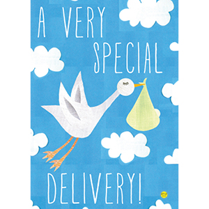 Flag with baby boy stork delivery design
