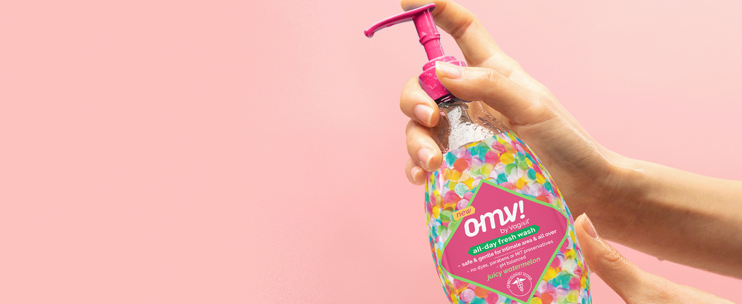 OMV! All-Day Fresh Wash Juicy Watermelon bottle in hand
