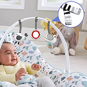 Hanging Rattles Toys Stroller Toy Newborn Toys Infant Toys crib toys car seat toy baby gift white
