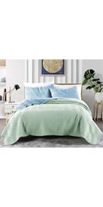 3-Green and blue Herringbone Reversible Microfiber 3-piece Quilt Set