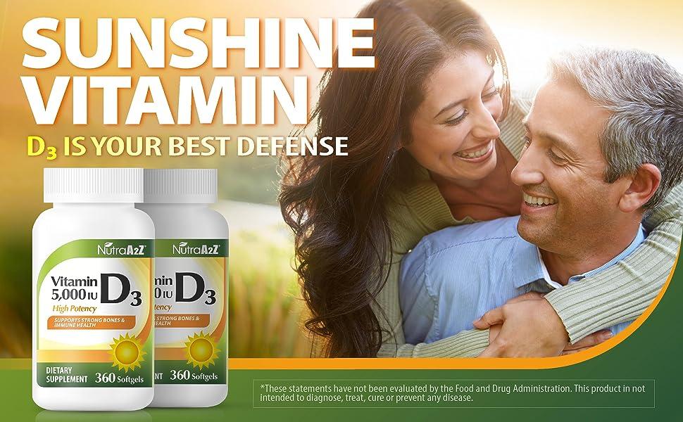NutraA2Z Vitamin D3 5000iu, 360 Softgels