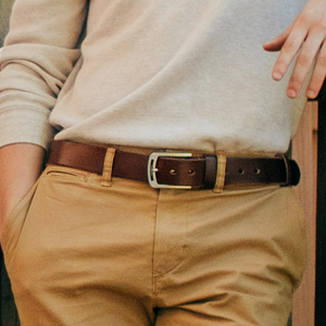 Leather belts with chinos