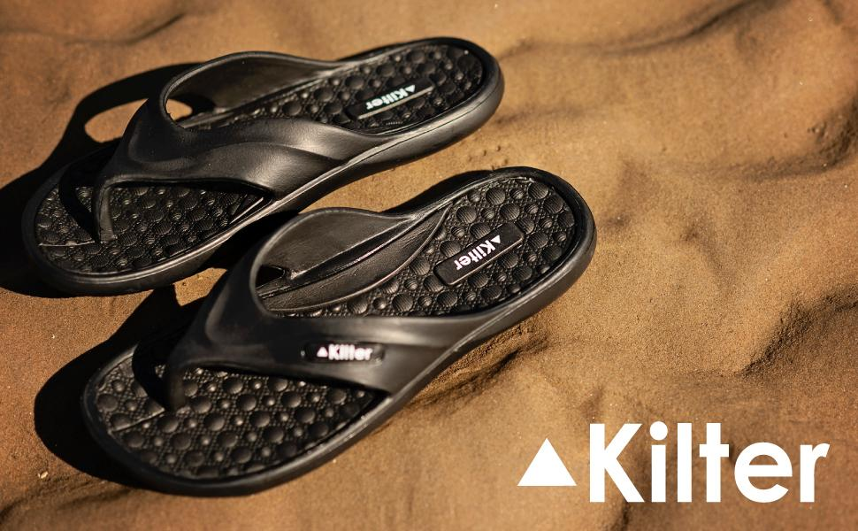 Kilter mens pulsar cushioned flip flops sandals lightweight EVA orthopaedic supportive