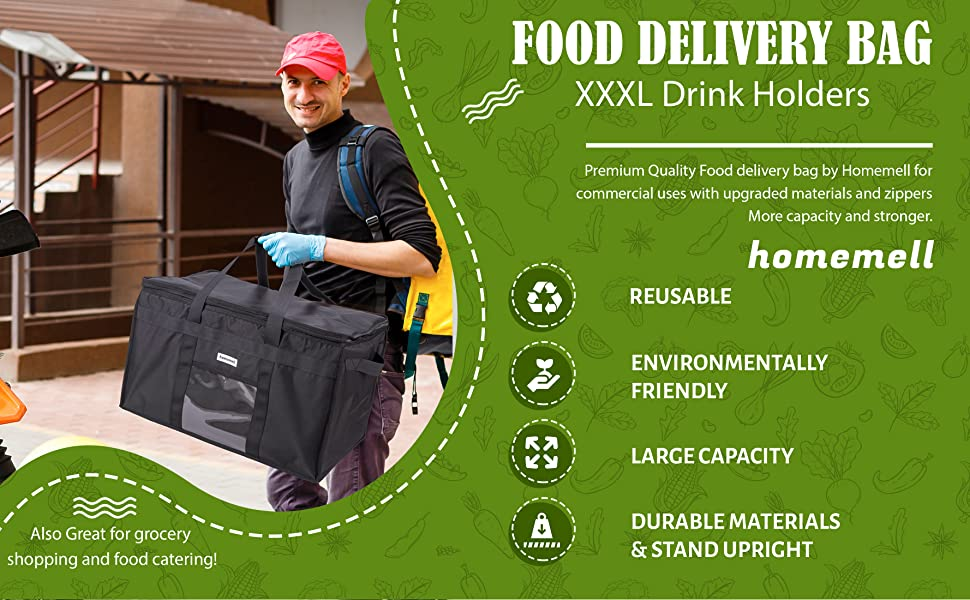 Food delivery bags drink holders