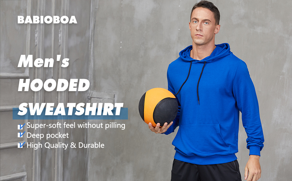 Men's Workout Hoodie Muscle Gym Sport Sweatshirt Long Sleeve lightweight Athletic Pullover Hooded