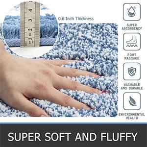 Ultra Soft Microfiber Plush Shaggy Bath Rugs