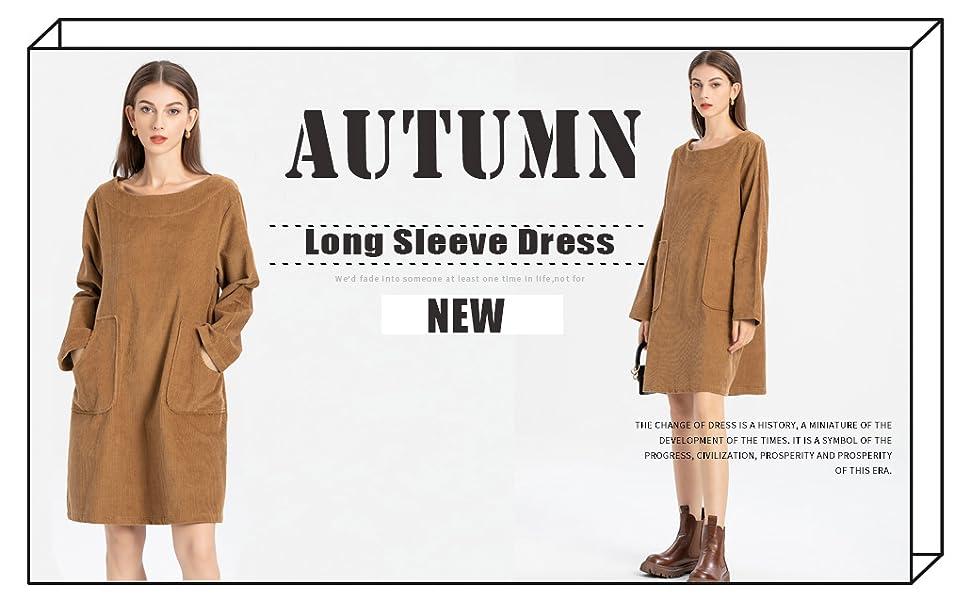 s Corduroy Dress Cotton Tunic Long Sleeve Sweatshirt Fall Casual Blouse with Pockets