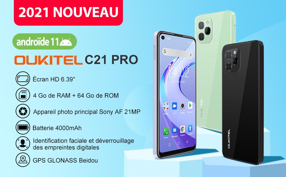 "Smartphone Debloque 4G, Android 11,Écran 6.39"" HD+,Octa-Core 4Go+64Go(SD 256Go),Caméras 21MP+8MP"