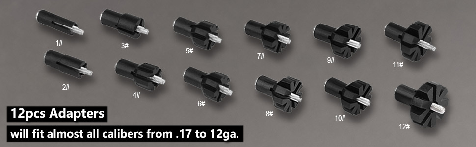 12 pcs adapters will filt almost all calibers from .17 to 12GA