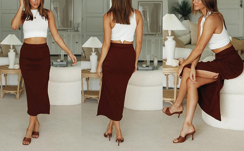 SK621 Split Long Maxi Skirt Burgundy