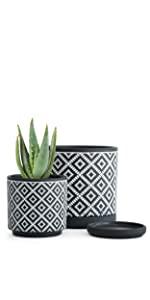 Square Geometric Pattern Design Planter Pot