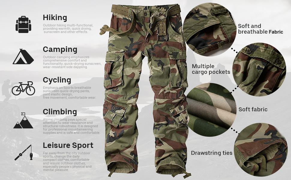 mens cargo pants casual tactical army military cargo work pants trousers