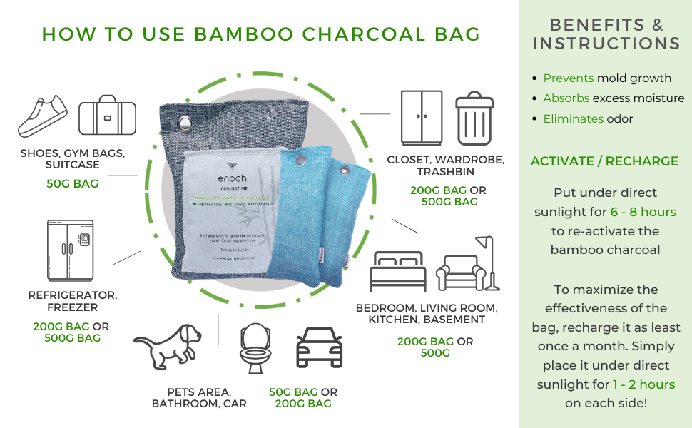 moso bamboo charcoal sizes activate recharge sunlight freezer basement room pets trashcan trash