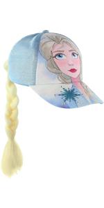 Frozen Queen Elsa amp; Anna Baseball Cap With Faux Hair Braid