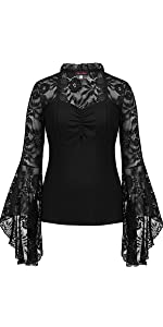 Gothic Lace Flare Sleeves Tops