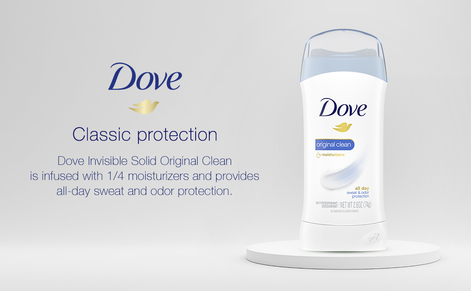 Dove Invisible Solid Original Clean, infused with 1/4 moisturizers, all day sweat amp; odor protection