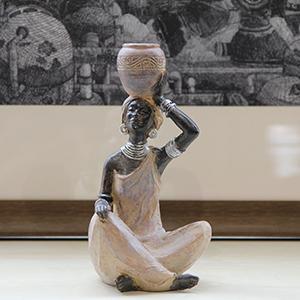 african statues and sculptures decor lady women black figurines bust african tribal bookshelf shelf
