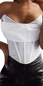 Women V Neck Strapless Off Shoulder Crop Corset Top