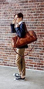 Berliner Bags Vintage Leather Duffle Bag Bergen