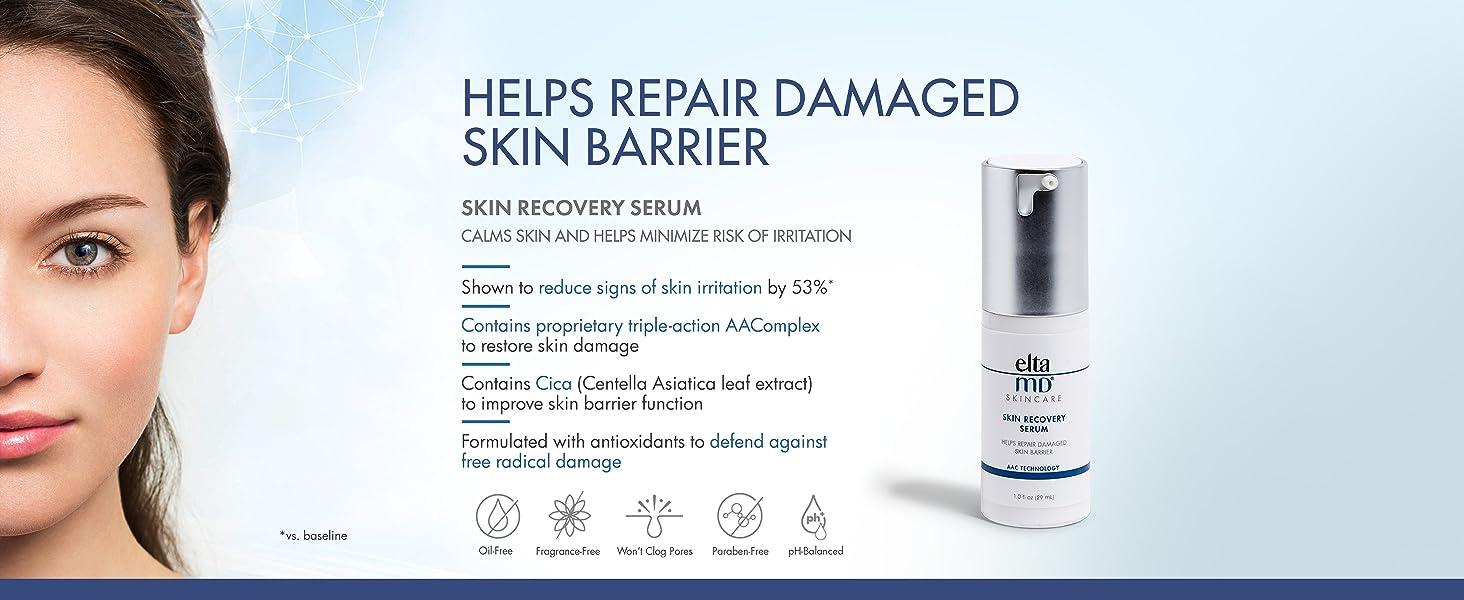EltaMD Skin Recovery Serum Helps Repair Damaged Skin Barrier, Calms, for Sensitive, Acne-Prone Skin,