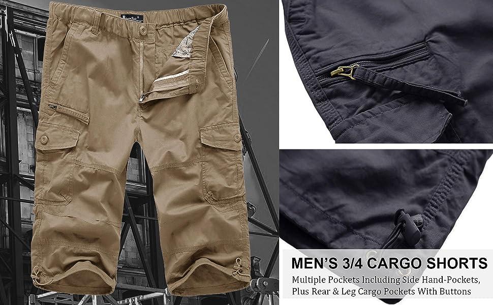 Mens 3/4 Length Cargo Shorts 100% Cotton