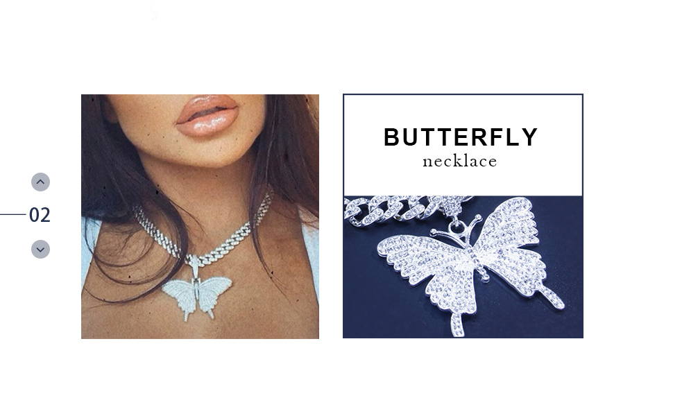Earent crystal choker necklace shiny butterfly necklace