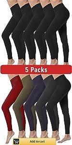 5 Pack High Waist Leggings Women Soft Slimming Yoga Pants Workout Running Reg amp;amp; Plus Size