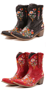Women Vintage Flower Embroidered Cowgirl Boots Retro Short Western Ankle Boots