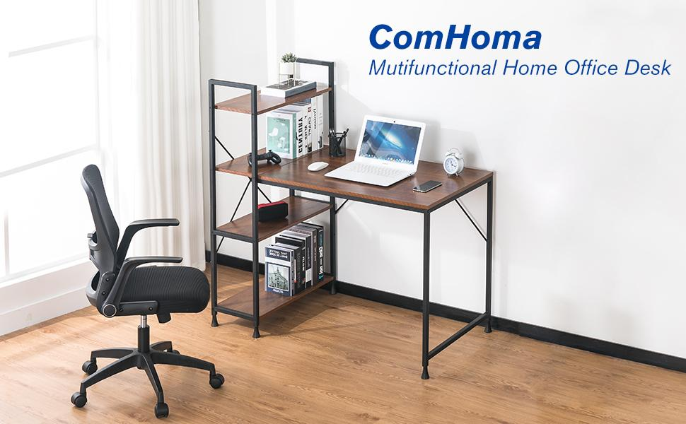 Computer Desk with Shelves Small Space Table with Storage Bookshelf Corner Desk Home Office Desk