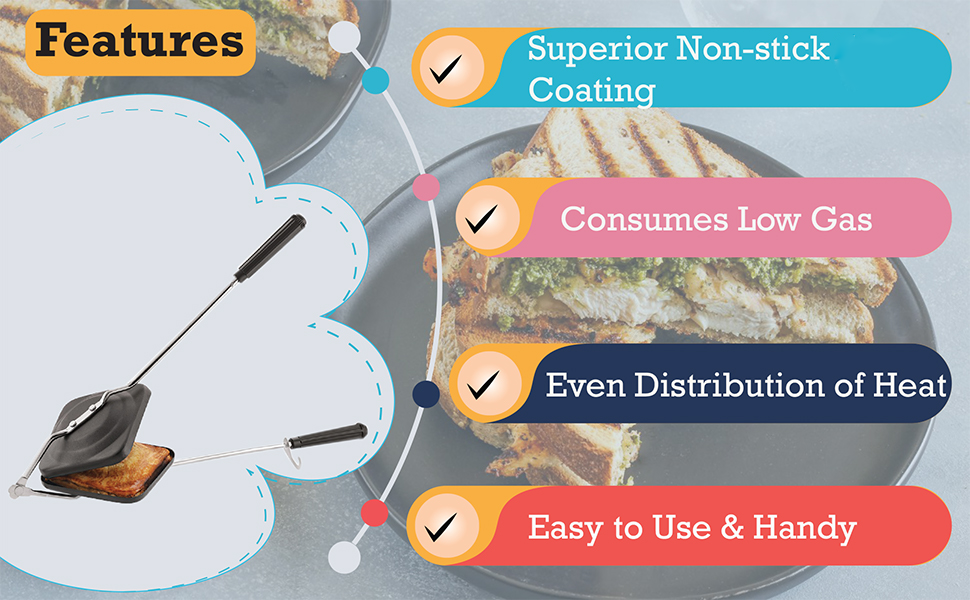 SPN-TP3A0 Tosaa sandwich toaster nonstick non stick coating perfect grilled sturdy handles design